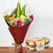 Multicolored Roses Bouquet With Chocolate Combo