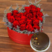25 Red Roses Heart Shaped Box With Chocolate Cake