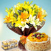 Asiatic Lilies Bunch With Fruit Cake & Choc Combo