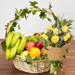 Basket Of Healthy Fruits With Bouquet