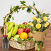 Basket Of Healthy Fruits With Bouquet & Champagne