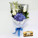Blue & White Flower Bunch With Ferrero Rocher