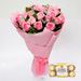 Bunch Of 20 Pink Roses With Ferrero Rocher
