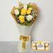 Bunch Of White and Yellow Roses & Ferrero Rocher