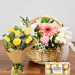 Flower Basket With Roses Bunch & Chocolates