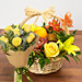 Fresh Flowers & Fruits Basket With Yellow Roses