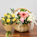 Gorgeous Flowers Basket With Yellow Roses Bouquet