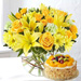 Happy Flowers In Bowl Arrangement With Fruit Cake