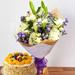 Mesmerizing Flowers Bunch& Fruit Cake