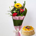 Mixed Flowers Bouquet With Fruit Cake