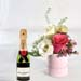 Pink Roses Box With Rocher & 200ML Champagne