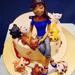 Girl & Adorable Pets Chocolate Cake