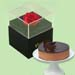 Forever Red Rose With Black Box And Chocolate Cake