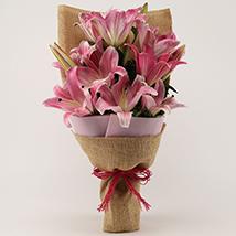 5 Oriental Pink Lilies Bunch