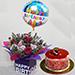 Birthday Flower Arrangement With Cake