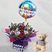 Birthday Flower Arrangement With Teddy Bear