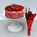 Mousse Cake With 3 Red Roses Bouquet