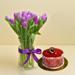 Purple Tulip Arrangement With Mini Cheesecake