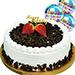 Black Forest Happy Birthday Cake With Birthday Balloons