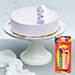 Lavender Earl Cream Cake With Birthday Candles