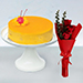Tangy Mango Mousse Cake With Red Roses Bouquet