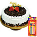 Black Forest Happy Birthday Cake With Candles
